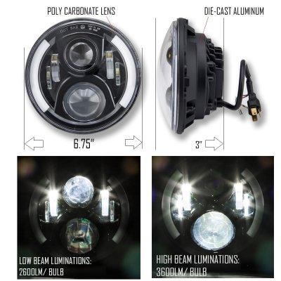 Dodge Dart 1972-1976 Black LED Projector Sealed Beam Headlights DRL