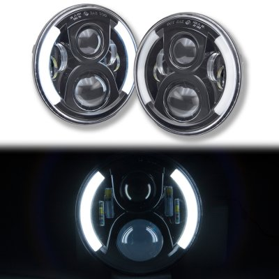 Nissan 280ZX 1979-1983 Black LED Projector Sealed Beam Headlights DRL