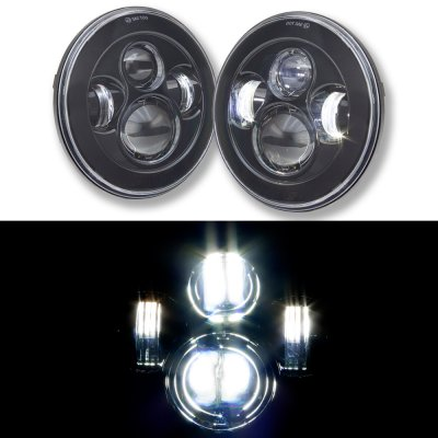 1976 Dodge Pickup Truck Black LED Projector Sealed Beam Headlights
