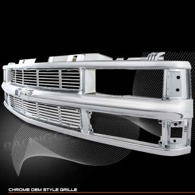 chevy tahoe 1995 1999 chrome replacement grille with cross. Black Bedroom Furniture Sets. Home Design Ideas