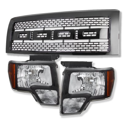 Ford F150 2009-2014 Black Raptor Style Grille and Euro Headlight