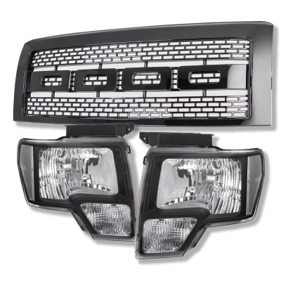 Ford F150 2009-2014 Black Raptor Style Grille and Black Euro Headlights