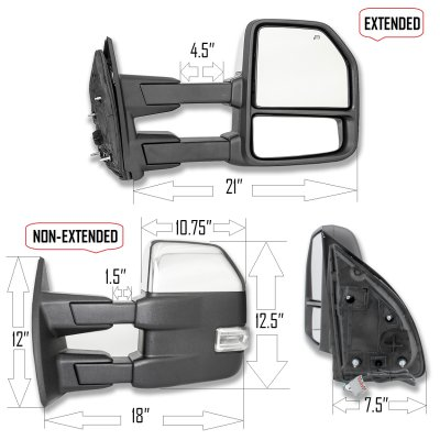 ford excursion 2003 2005 chrome towing mirrors led drl. Black Bedroom Furniture Sets. Home Design Ideas