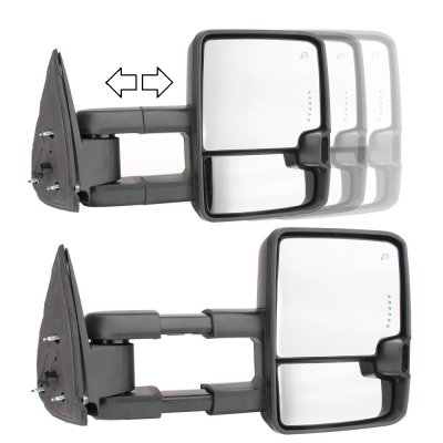 Chevy Silverado 2007-2013 Towing Mirrors Clear LED Signal Lights Power Heated