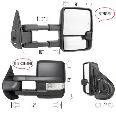 Chevy Silverado 2500HD 2007-2014 Towing Mirrors Clear LED Signal Lights Power Heated
