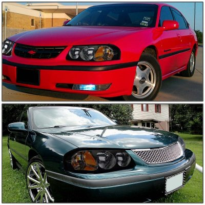 chevy impala 2000 2005 black smoked euro headlights. Black Bedroom Furniture Sets. Home Design Ideas