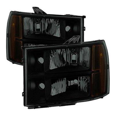 GMC Sierra 2007-2013 Black Smoked Euro Headlights