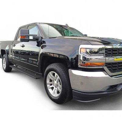 chevy silverado 3500hd double cab 2015 2017 running boards step bars black aluminum rocker mount. Black Bedroom Furniture Sets. Home Design Ideas