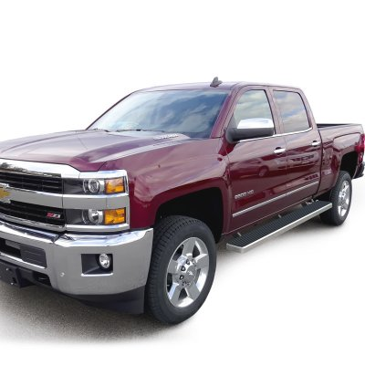 chevy silverado 1500 crew cab 2014 2017 running boards step bars aluminum rocker mount 6 inches. Black Bedroom Furniture Sets. Home Design Ideas
