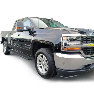 chevy silverado 3500hd double cab 2015 2017 black running boards side step rocker mount 6 inches. Black Bedroom Furniture Sets. Home Design Ideas