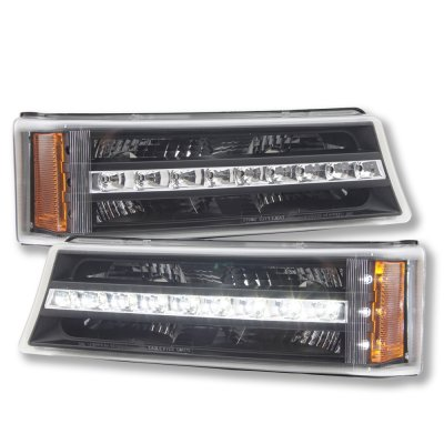Chevy Avalanche 2003-2005 Black LED Bumper Lights