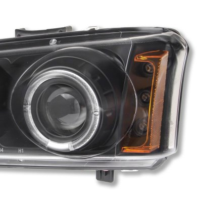 Chevy Silverado 2003-2006 Black Dual Halo Projector Headlights with LED