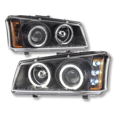 Chevy Silverado 2500HD 2003-2006 Black Dual Halo Projector Headlights with LED