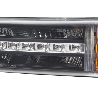 chevy avalanche 2003 2005 black projector headlights and led bumper lights a103arrw213. Black Bedroom Furniture Sets. Home Design Ideas