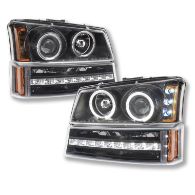 Chevy Silverado 2500 2003-2004 Black Projector Headlights and LED Bumper Lights