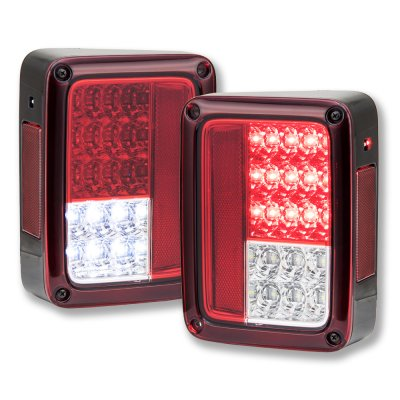 Jeep Wrangler JK 2007-2015 Red and Clear LED Tail Lights