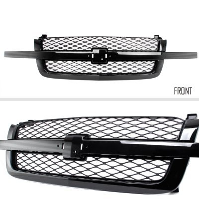 Chevy Silverado 2500HD 2003-2004 Black Grille and Smoked Headlights Bumper Lights