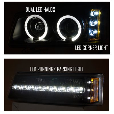 Chevy Silverado 3500 2003-2004 Black Grille and Halo Projector Headlights LED DRL Bumper Lights