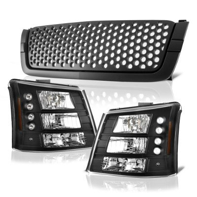 2003 F250 Headlights >> Chevy Silverado 2500HD 2003-2004 Black Custom Grille and Headlights Conversion | A1285PM4184 ...