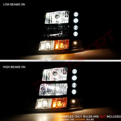 Chevy Silverado 1500 2003-2005 Black Grille Silver Mesh and Headlights Conversion