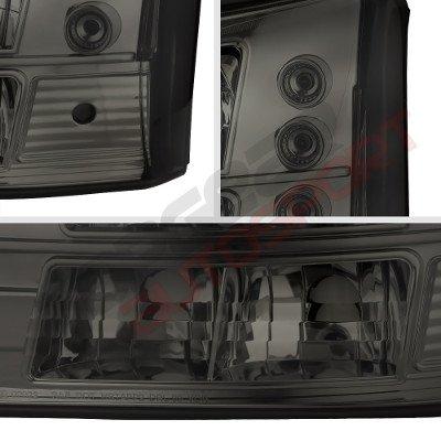 Chevy Silverado 1500 2003-2005 Black Grille Silver Mesh and Smoked Headlights Conversion