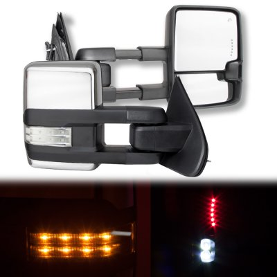 Chevy Silverado 2500HD 2015-2019 Chrome Towing Mirrors Clear LED Lights Power Heated