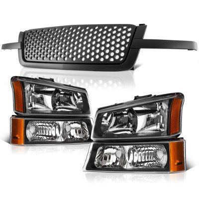 Chevy Silverado 3500 2003-2004 Black Custom Grille and Headlights