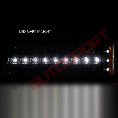 Chevy Silverado 1500HD 2003-2004 Black Front Grill and Headlights LED Bumper Lights