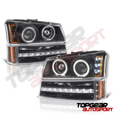 Chevy Silverado 1500 2003-2005 Black Grill and Halo Projector Headlights LED Bumper Lights