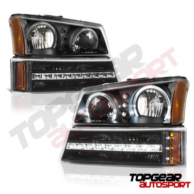 Chevy Silverado 1500 2003-2005 Black Front Grille and Halo Headlights LED DRL Bumper Lights
