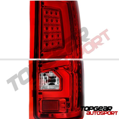 GMC Sierra 1500 2007-2013 Custom LED Tail Lights Red Clear