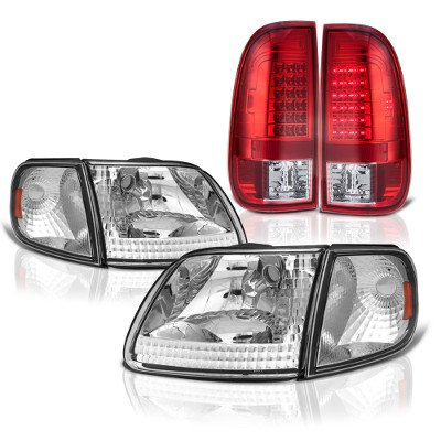 Ford F150 1997-2003 Clear Headlights Corner Lights and Red LED Tail Lights
