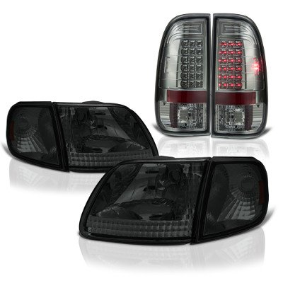 Ford F150 1997-2003 Smoked Headlights Corner Lights and LED Tail Lights