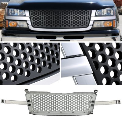 Chevy Avalanche 2003-2006 Chrome Trim Front Grill Black Punch Style