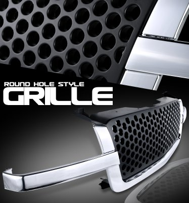 Chevy Silverado 2003-2005 Chrome Trim Front Grill Black Punch Style