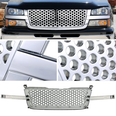 Chevy Silverado 1500 2003-2005 Chrome Front Grill Punch Style