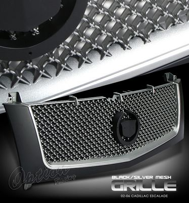 Cadillac Escalade 2002-2006 Black and Chrome Diamond Style Mesh Grille