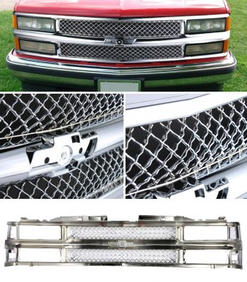 chevy tahoe 1995 1999 chrome mesh grille shell. Black Bedroom Furniture Sets. Home Design Ideas