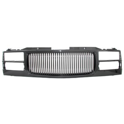 Chevy 1500 Pickup 1994-1998 Black Grill Smoked LED Halo Projector Headlights Set