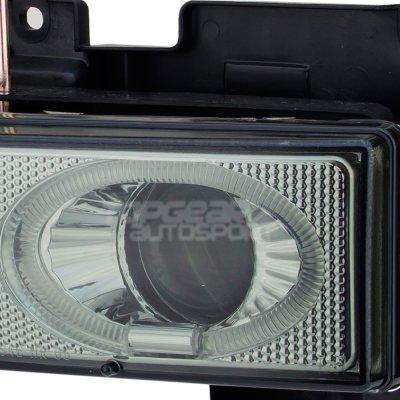 GMC Yukon 1994-1999 Black Grill Smoked Halo Projector Headlights LED DRL