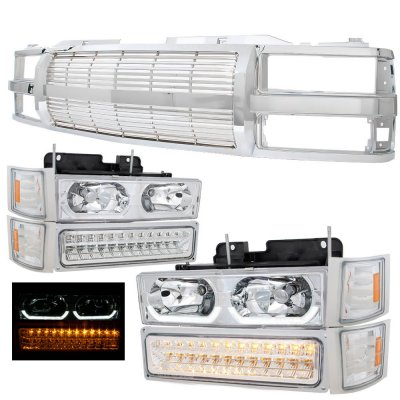 Chevy 1500 Pickup 1994-1998 Chrome Billet Grille and LED DRL Headlights Bumper Lights