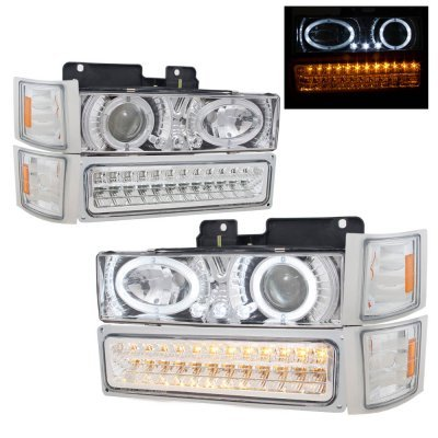 Chevy Tahoe 1995-1999 Chrome Billet Grille and Halo Projector Headlights LED DRL