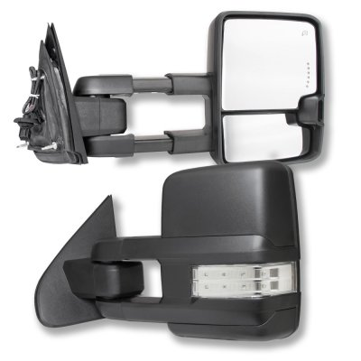 Chevy Silverado 2014-2018 Towing Mirrors Clear LED Signal Lights Power Heated