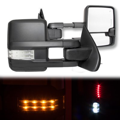 GMC Sierra 2014-2018 Towing Mirrors Clear LED Signal Lights Power Heated