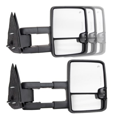 Chevy Silverado 1988-1998 Chrome Power Towing Mirrors Clear LED Lights