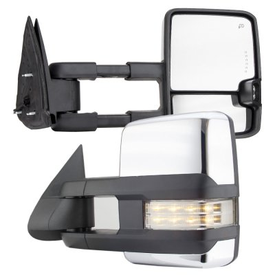 Chevy Silverado 2003-2006 Chrome Towing Mirrors Clear LED Signal Lights Power Heated