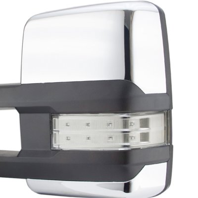 Chevy Silverado 2007-2013 Chrome Towing Mirrors Clear LED Signal Lights Power Heated