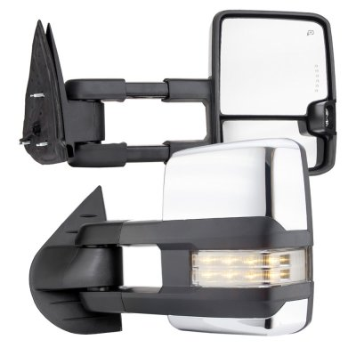 Chevy Silverado 2500HD 2007-2014 Chrome Towing Mirrors Clear LED Lights Power Heated