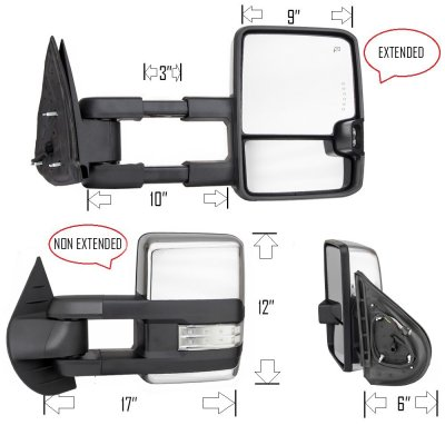 Chevy Silverado 2500HD 2007-2014 Chrome Towing Mirrors Clear LED Signal Lights Power Heated