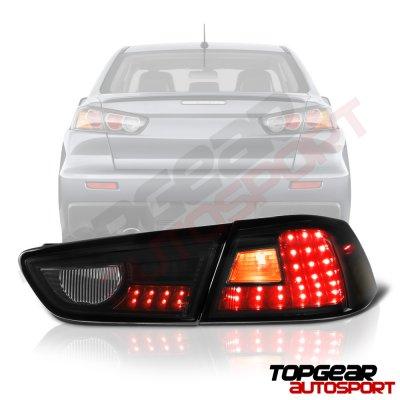 Mitsubishi Lancer 2008-2015 LED Tail Lights Black Smoked